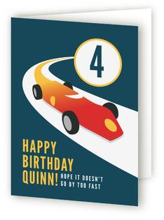 Vintage Race Car Kids Birthday Greeting Cards