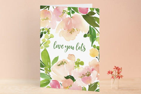 Peach Floral Watercolor Valentine's Day Greeting Cards