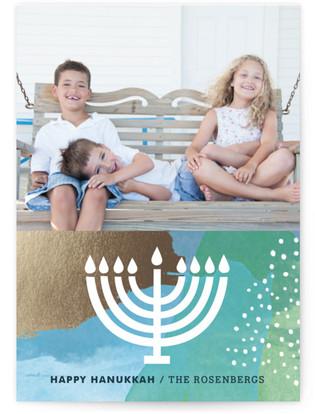 Menorah Luster Hanukkah Cards