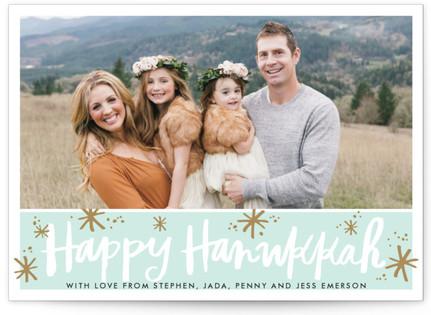 Happy Hanukkah Script Sparkle Hanukkah Cards