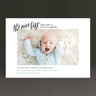 Made the Nice List Holiday Birth Announcement Petite Cards