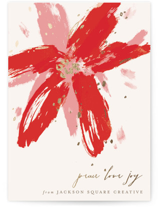 Painted Poinsettia Business Holiday Cards