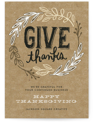 Rustic Give Thanks Business Holiday Cards