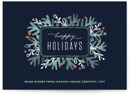 Winter Foliage Frame Business Holiday Cards
