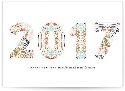 Engraved New Year Business Holiday Cards