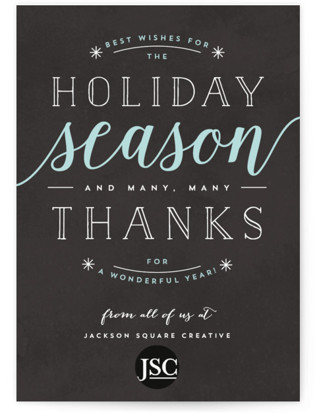 Thankful Holiday Wishes Business Holiday Cards