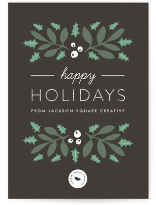 Winter Holly Business Holiday Cards