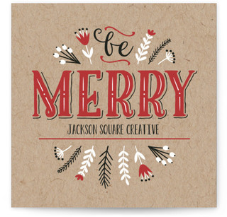 Be Merry Vintage Lettering Business Holiday Cards