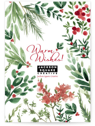 Winter Holiday Sprigs Business Holiday Cards