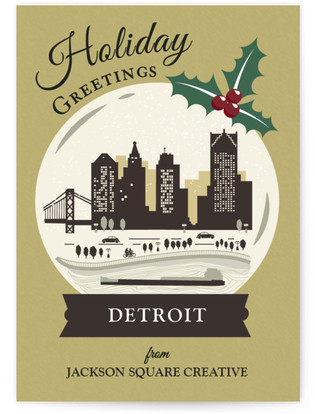 Vintage Snow Globe - Detroit Business Holiday Cards