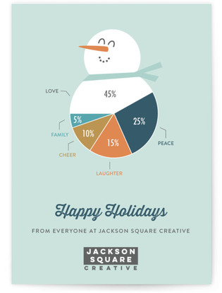Snowman Pie Chart Business Holiday Cards