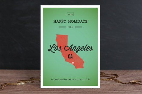 State Silhouette Business Holiday Cards