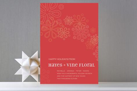 Mod Snowfall Business Holiday Cards