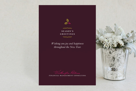 Delicate Holly Berry Business Business Holiday Cards