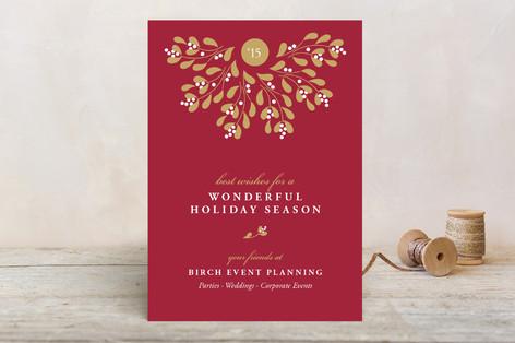 Mistletoe Wreath Business Holiday Cards