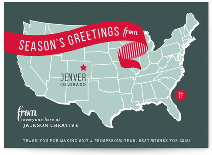 Holiday Map Business Holiday Cards