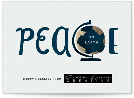Peace On Earth's Globe Business Holiday Cards