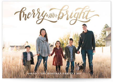 Merry & Bright Hand Lettered Foil-Pressed Holiday Cards