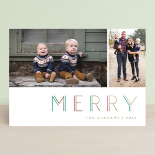 Geo Merry Foil-Pressed Holiday Cards