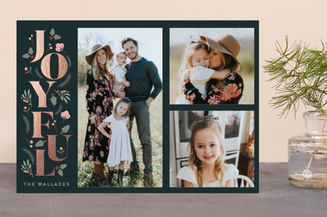Foliage Joyful Foil-Pressed Holiday Cards
