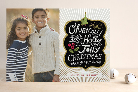 Holly Jolly Wishes Foil-Pressed Holiday Cards