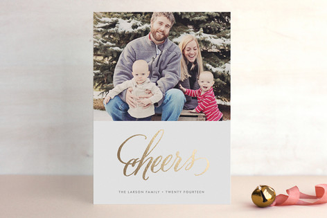 Cheers New Year's Foil-Pressed Holiday Cards
