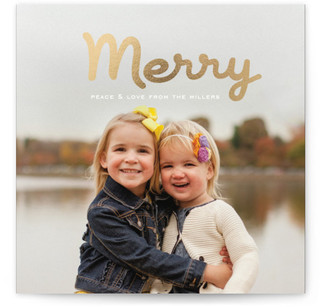 Merry Brush Foil-Pressed Holiday Cards