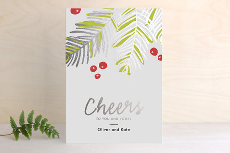 Modern Pine Foil-Pressed Holiday Cards