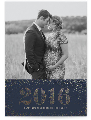 Gilded Pointillism Foil-Pressed Holiday Cards