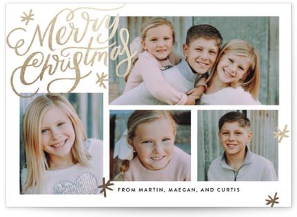 Collage Shimmer Script Foil-Pressed Holiday Cards