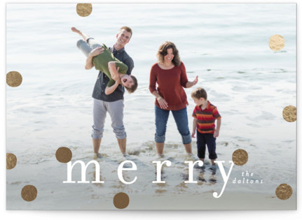 Modern Confetti Merry Foil-Pressed Holiday Cards