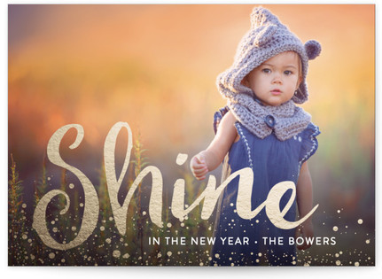 Let The New Year Shine Foil-Pressed Holiday Cards