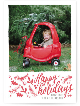dreamy winter florals Letterpress Holiday Photo Cards