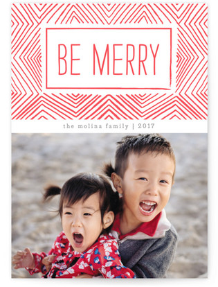 Merry Ikat Letterpress Holiday Photo Cards