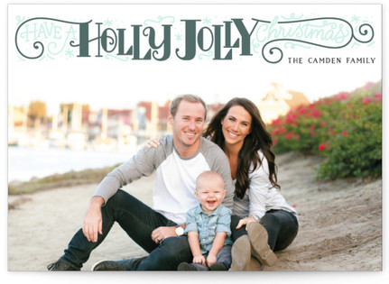 Holly Jolly Christmas Letterpress Holiday Photo Cards