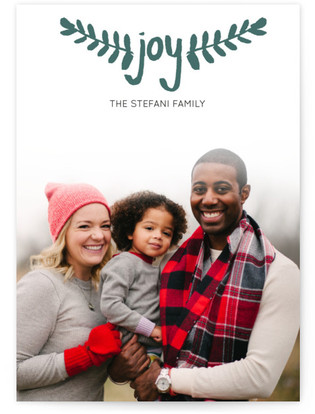 Hand-Painted Branches Letterpress Holiday Photo Cards