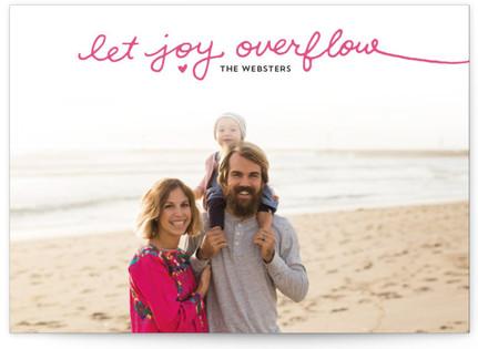 Let Joy Overflow Letterpress Holiday Photo Cards
