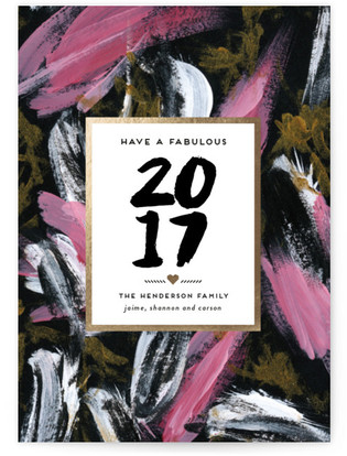 Fabulous Brush Strokes Holiday Non-Photo Cards