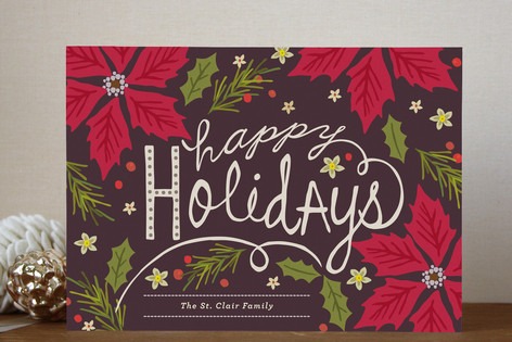 Poinsettia Ball Holiday Cards