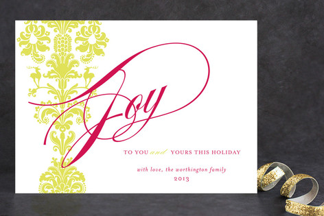 float + deer damask Holiday Cards