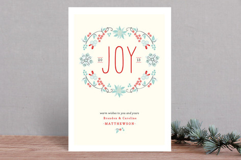 Joyful Wreath Floral Holiday Cards