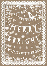 Folksy Christmas Papercut Holiday Non-Photo Cards