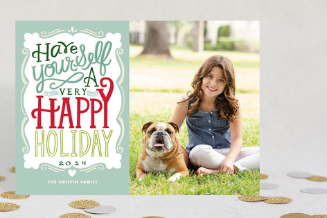 Merry Typography New Year Photo Cards