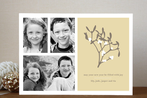 Mistletoe Wishes New Year Photo Cards