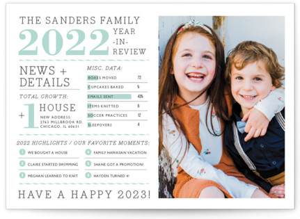 Family Year in Review New Year's Photo Cards