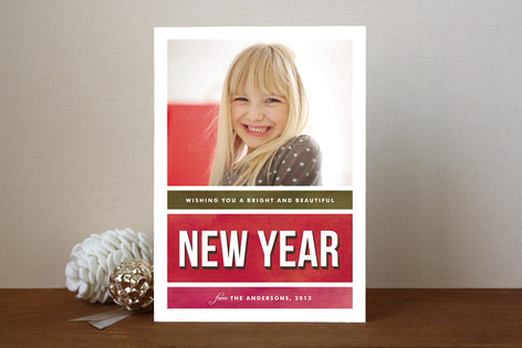 Bold Color Block New Year Photo Cards