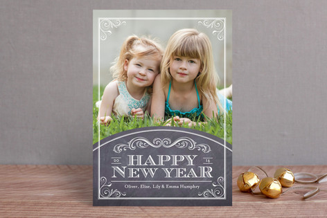 Chalkboard Year New Year Photo Cards