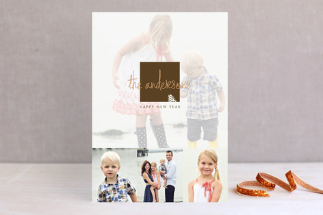 Frosted Pinecone New Year Photo Cards