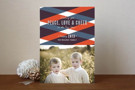 Bold Plaid New Year Photo Cards