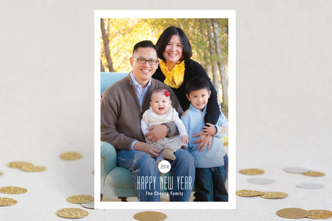Modern Spot New Year Photo Cards